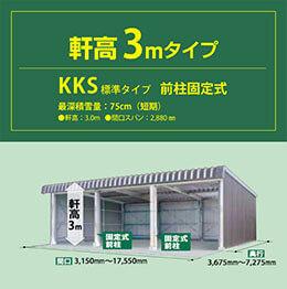 軒高3mタイプ KKS標準タイプ 前柱固定式 最深積雪量 75cm(短期)