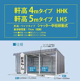軒高4mタイプ HHK/5mタイプ LH5 軒高・ワイドタイプ シャッター中柱移動式 最深積雪量 75cm(短期)